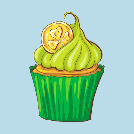 Happy St. Patrick s Day card. Celebration background with cupcakes. Vector Illustration