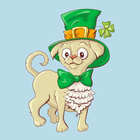 Illustration of a cute St. Patricks Day funny smiling dog. Vector illustration