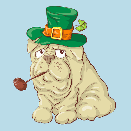 Illustration of a cute St. Patrick s Day funny smiling dog. Vector illustration 일러스트