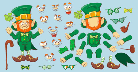 Collection of Leprechaun for Saint Patricks design. Vector illustration. Zdjęcie Seryjne - 92646925