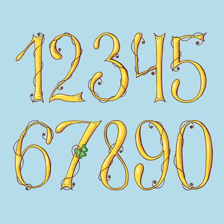 Gold digits of a St. Patrick s Day. Alphabet Set.