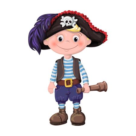 schattige jongen van kinderen piraten. vector illustratie