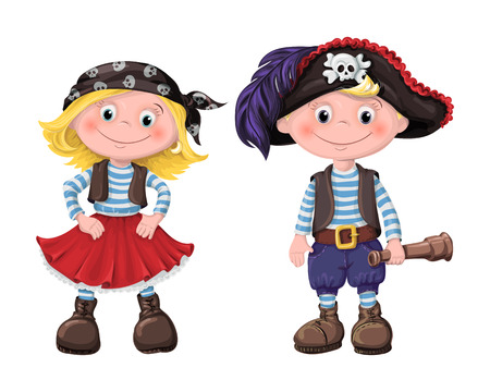 cute set of children pirates girl and boy. vector illustration. Çizim