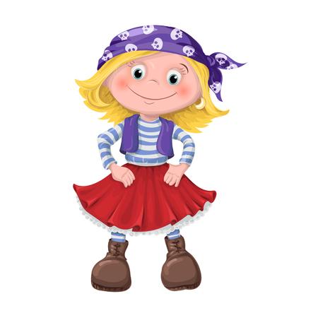 cute girl of children pirates. vector illustration