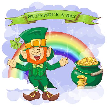 Vector Happy Saint Patrick s Day greeting card with leprechaun. Illustration