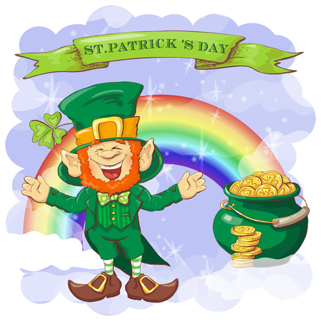Vector Happy Saint Patrick s Day greeting card with leprechaun. Vettoriali