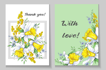 Beautiful spring card with narcissus. Vector illustration. Illustration