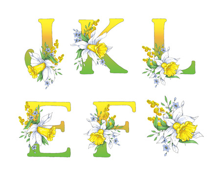 Spring bright letters with daffodils and forget-me-nots. Vector illustration. Vettoriali