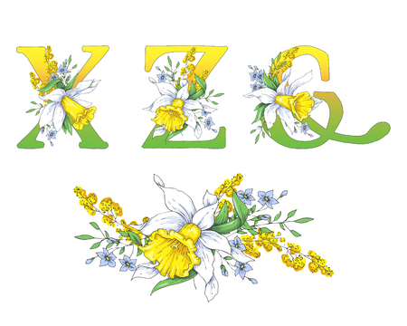 Spring bright letters with daffodils and forget-me-nots. 일러스트
