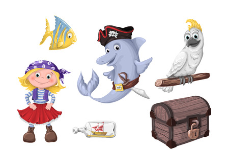 Set of funny cartoon cute children of pirates and sea inhabitants. Vector illustration.  イラスト・ベクター素材