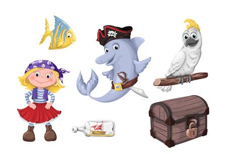 Set of funny cartoon cute children of pirates and sea inhabitants. Vector illustration. Illustration