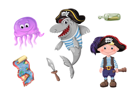 Cute cartoon girl pirate vector illustration. Kids pirates isolated on plain background. Çizim