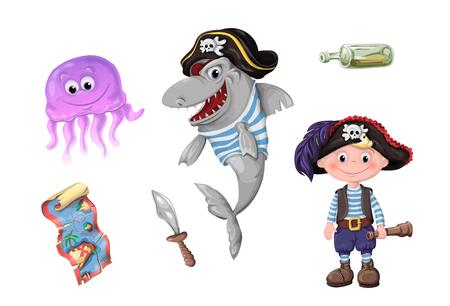 Cute cartoon girl pirate vector illustration. Kids pirates isolated on plain background. Stock Illustratie