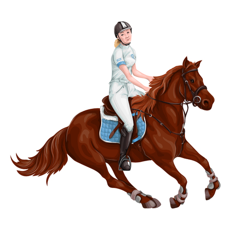 Woman, Girl riding horses Vector Illustration, isolated.  イラスト・ベクター素材
