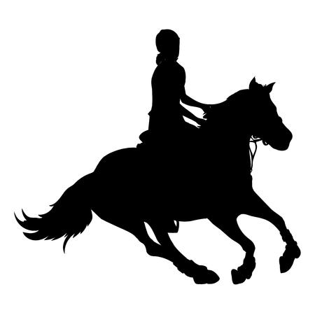 Vector Illustration, Reiter steuert laufendes Pferd, Wettbewerbsdressur