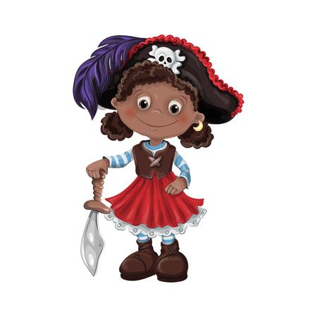 Cute girl pirate vector illustration