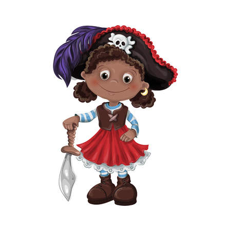 Cute girl pirate vector illustration