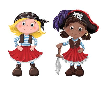 Cute girls pirate vector illustration Stock Illustratie