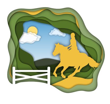 Een meisje dat paard berijdt dichtbij. Paardrijden. Paardensport. Geïsoleerde Vector Illustratie.