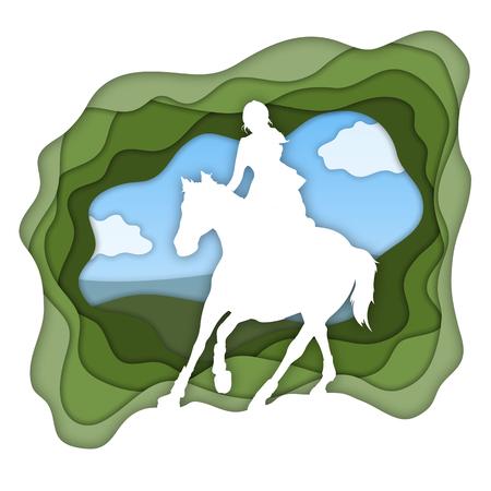 A girl riding horse, horseback riding, equestrian sport isolated vector illustration.