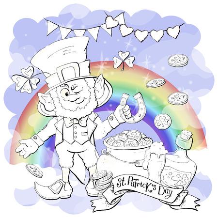 Funny leprechaun holding clover leaf like. Coloring book. Cartoon vector illustration Illustration