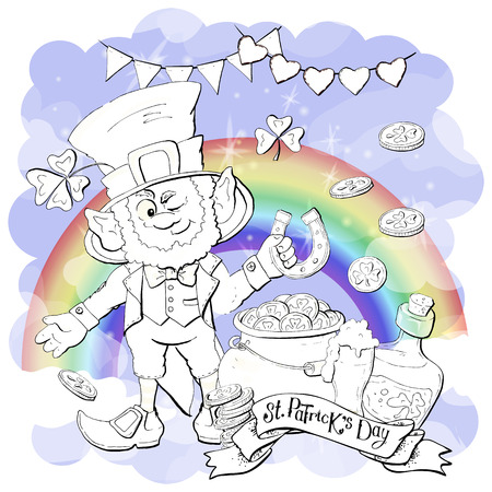 Funny leprechaun holding clover leaf like. Coloring book. Cartoon vector illustration Vectores