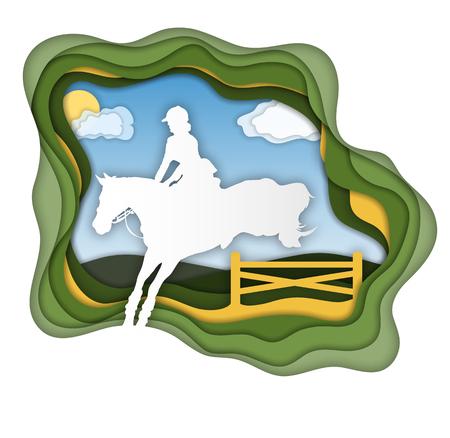 A girl riding horse near. Horseback Riding. Equestrian Sport. Isolated Vector Illustration. Paper art concept.
