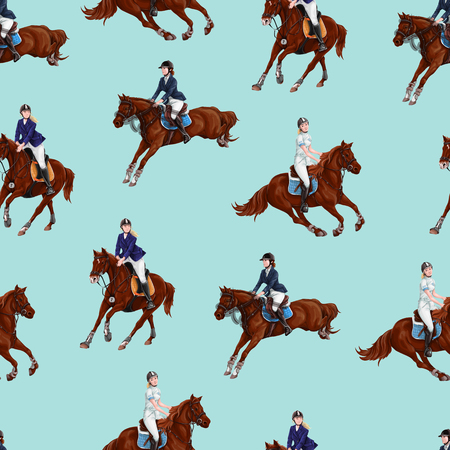 Seamless pattern with bay horses running horses and riders.