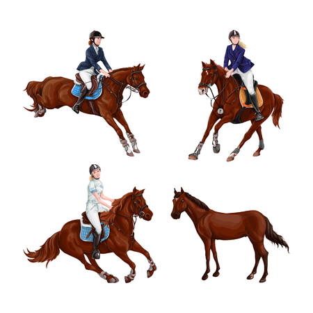 Woman, Girl riding horses Set, isolated. Family equestrian sport training horseback ride. Vector Illustration