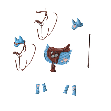 Ammunition of a horse for dressage, jumping - saddle, voltrap, whip, ears, bridle, bandages. Иллюстрация