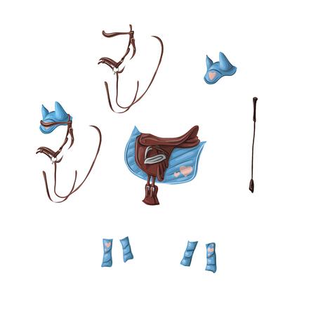 Ammunition of a horse for dressage, jumping - saddle, voltrap, whip, ears, bridle, bandages. Illustration