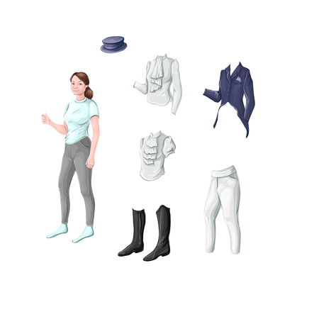 Ammunition rider for dressage, jumping - jacket, turtleneck, blouse, tailcoat, cylinder, breeches, boots, boots. Vector illustration.