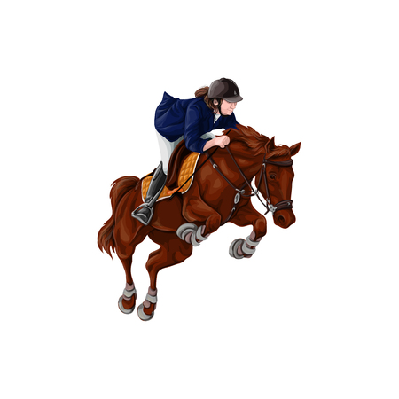 Woman, Girl riding horses Vector Illustration, isolated. equestrian sport training horseback Vetores