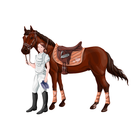 Horse and rider girl woman in ammunition for jumping - saddle, cap, bridle, halter, wagtrap, stamping, boots, cylinder, helmet, jacket. Stock Illustratie