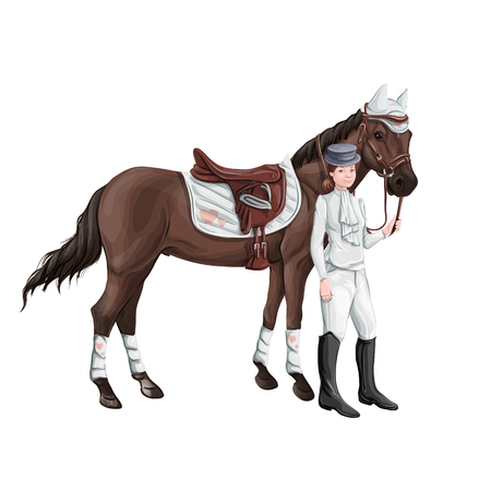 Horse and rider girl woman in ammunition for jumping - saddle, cap, bridle, halter, wagtrap, stamping, boots, cylinder, helmet, jacket. Stock Photo