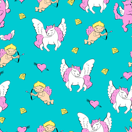 Blue background with unicorns, hearts and diamonds