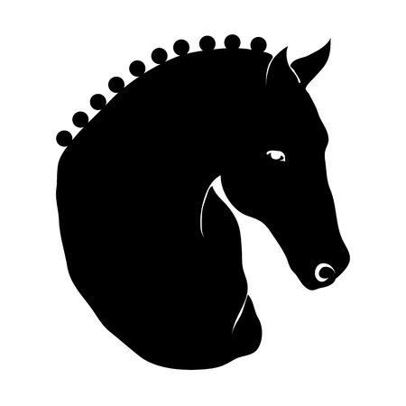 Stylized horse head silhouette with a beautiful hairdo.