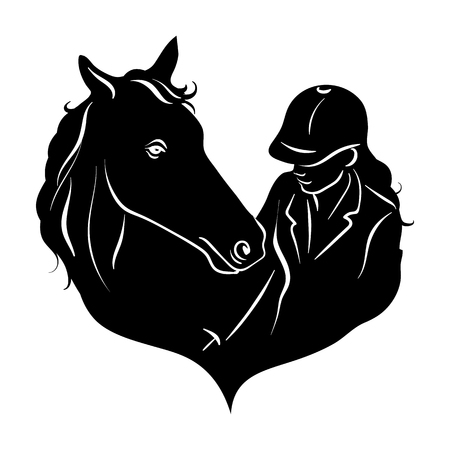 Stylized silhouette of a horse and a girl rider.