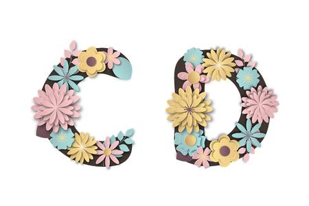 Paper art flower alphabet. Beautiful romantic gentle letters in pastel colors. Vector illustration.