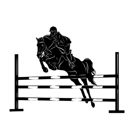 Stylized silhouette of a horse with a beautiful hairdo and a girl rider. Vector illustration.