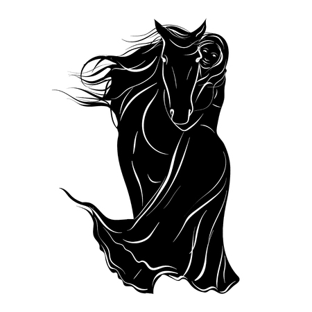 Stylized silhouette of a horse with a beautiful hairdo and a girl rider. Vector illustration on white background. Stock Illustratie