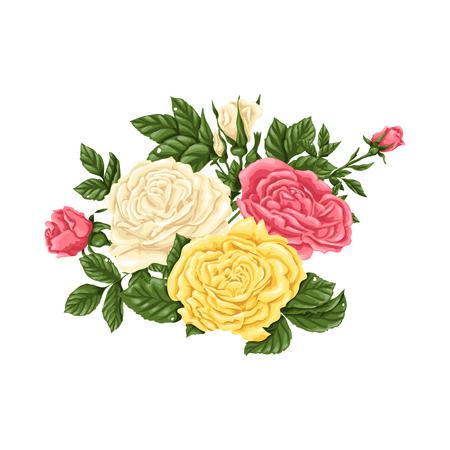 Set of bouquets flowers. Vector illustration. Illustration