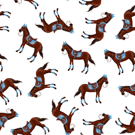 Seamless pattern with bay horses running horses and riders. Vector illustration.