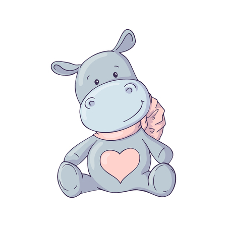 Cute Hippo. Illustrations for children. Baby Shower card. Vector