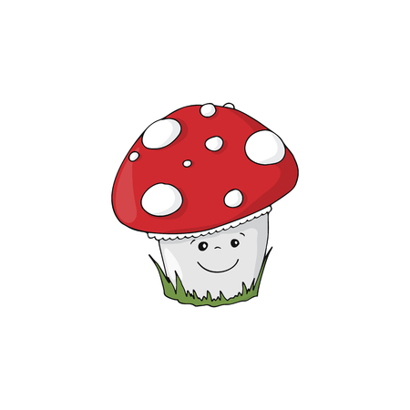 Cartoon Amanita muscaria mushroom icon. Wild forest mushrooms in autumn, isolated vector illustration. Illustration