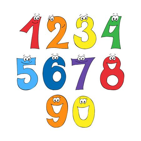 Rainbow font, 123 numeral alphabet.