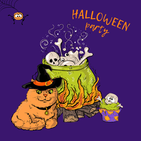 Cartoon cute cat character in a witch s hat with a skull capkake and a Halloween witch s boiler.