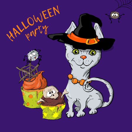 Cartoon cute cat character in a witch s hat with a skull capkake and a Halloween. Vettoriali
