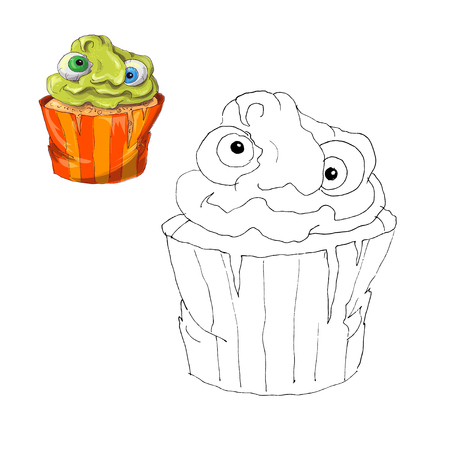 Coloring page. Halloween cupcake. Color by numbers educational children game. Drawing kids activity, printable sheet. Vector illustration. Illustration