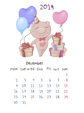 Monthly creative calendar 2019 with cute cartoon pig. Vector illustration